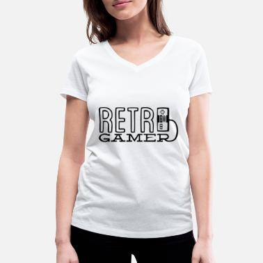 Shoot Em Up Retro gamer black - Women's Organic V-Neck T-Shirt by Stanley & Stella
