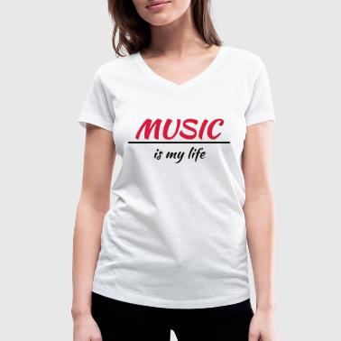 Music is my life - T-shirt bio col V Stanley & Stella Femme