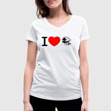 I love piano - piano - wing - Women's Organic V-Neck T-Shirt by Stanley & Stella