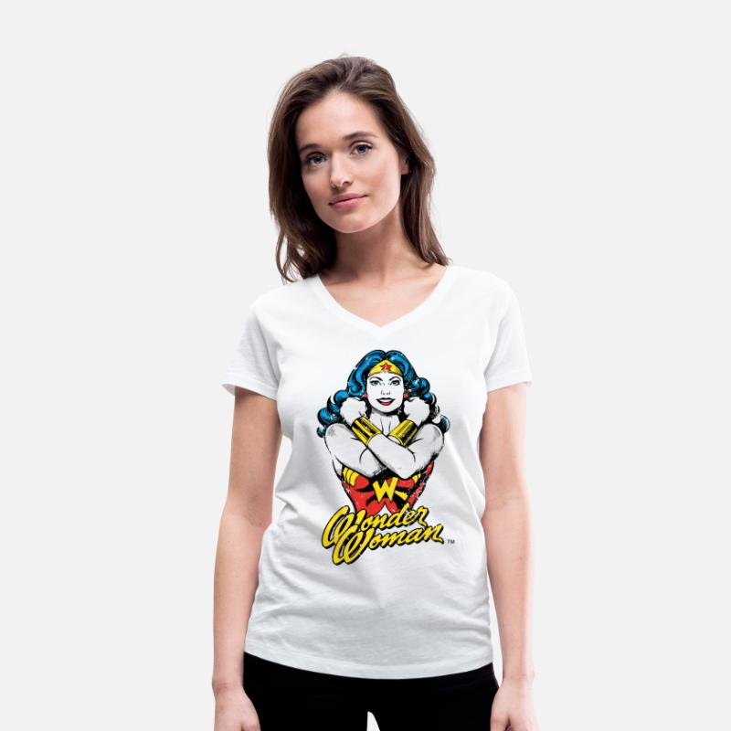Wonder T-Shirts - Wonder Woman Power vrouwen T-shirt - Vrouwen V-hals T-shirt wit