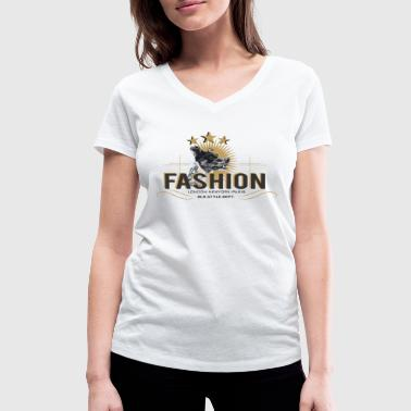 fashion-dog-oldstyle - Women's Organic V-Neck T-Shirt by Stanley & Stella