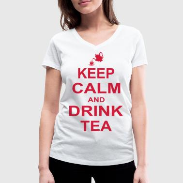 Keep Calm and Drink Tea - Women's Organic V-Neck T-Shirt by Stanley & Stella