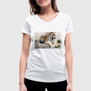 Fine Art Tiger Art - Women's Organic V-Neck T-Shirt by Stanley & Stella