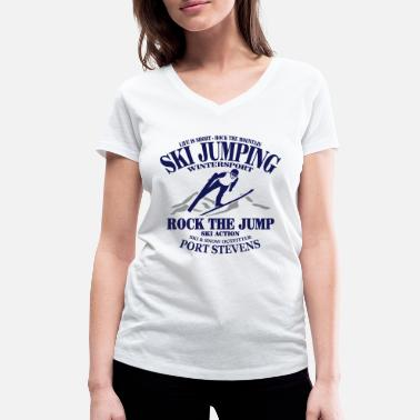 Skijump ski jumping - ski flying - skijumper - Women's Organic V-Neck T-Shirt by Stanley & Stella