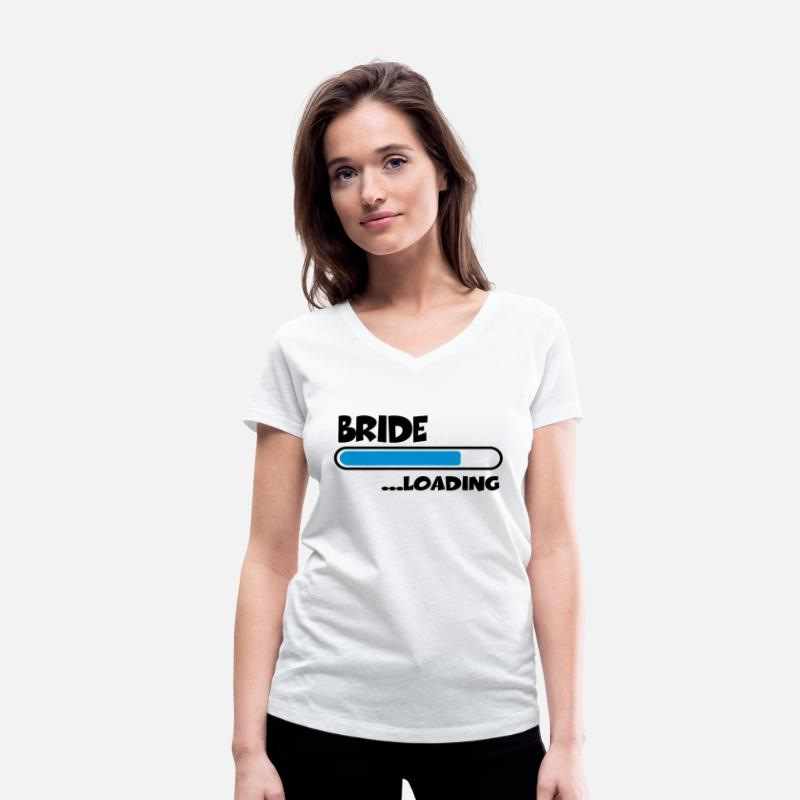 Loading T-Shirts - Bride loading - Vrouwen V-hals T-shirt wit
