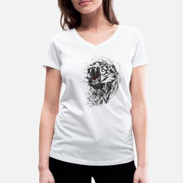 Blood Gang tiger wild black lion bite cool blood gang is fun - Women's Organic V-Neck T-Shirt by Stanley & Stella