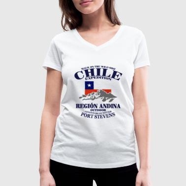 Chile - Flag & Mountains - T-shirt ecologica da donna con scollo a V di Stanley & Stella