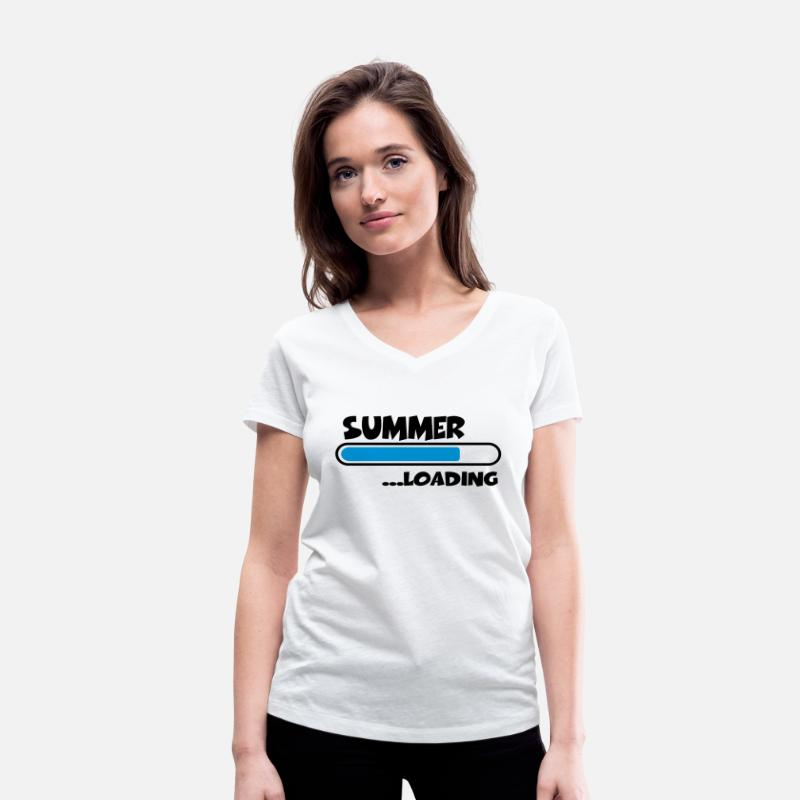 Break T-Shirts - Summer loading - Women's Organic V-Neck T-Shirt white