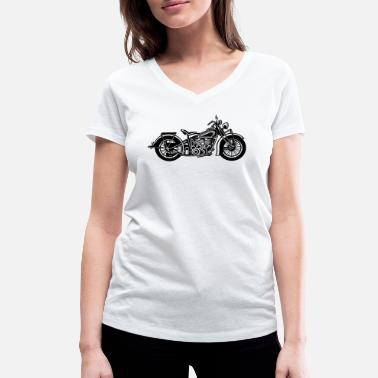 Bobber Chopper / Bobber Motorcycle 03_black - Women's Organic V-Neck T-Shirt by Stanley & Stella