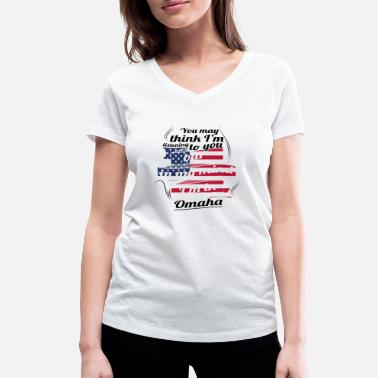 Omaha THERAPY HOLIDAY AMERICA USA TRAVEL Omaha - Women's Organic V-Neck T-Shirt by Stanley & Stella