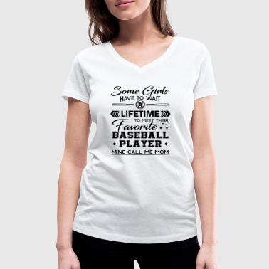 Favorite baseball player call me mom - Vrouwen bio T-shirt met V-hals van Stanley & Stella