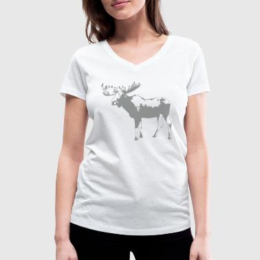 moose - elk - hunting - hunter - Women's Organic V-Neck T-Shirt by Stanley & Stella