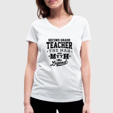 Second Grade Teacher Legend - Women's Organic V-Neck T-Shirt by Stanley & Stella