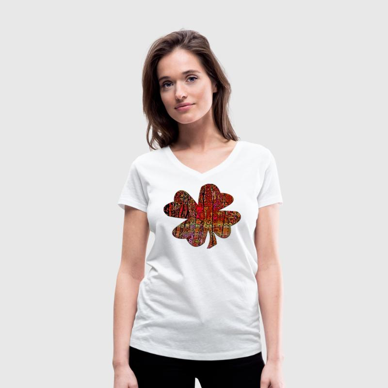 Funky clover - Women's Organic V-Neck T-Shirt by Stanley & Stella