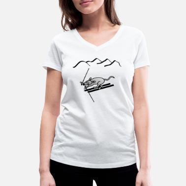 Skiing Piste Skiing piste mountains mouse - Women's Organic V-Neck T-Shirt by Stanley & Stella