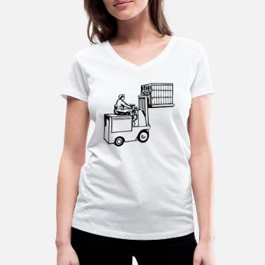 Transport Clerk forklift fork lift truck stacker pallet pallet - Women's Organic V-Neck T-Shirt by Stanley & Stella