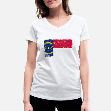 North Carolina North Carolina vintage flag - Women's Organic V-Neck T-Shirt by Stanley & Stella