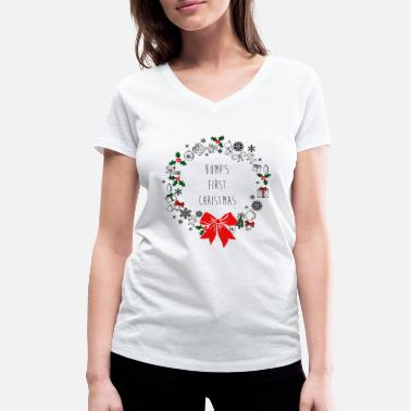 Maternity Bumps First Christmas - Women's Organic V-Neck T-Shirt by Stanley & Stella
