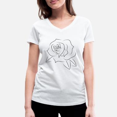 Rose Tattoo Minimal rose tattoo black - T-shirt ecologica da donna con scollo a V di Stanley & Stella