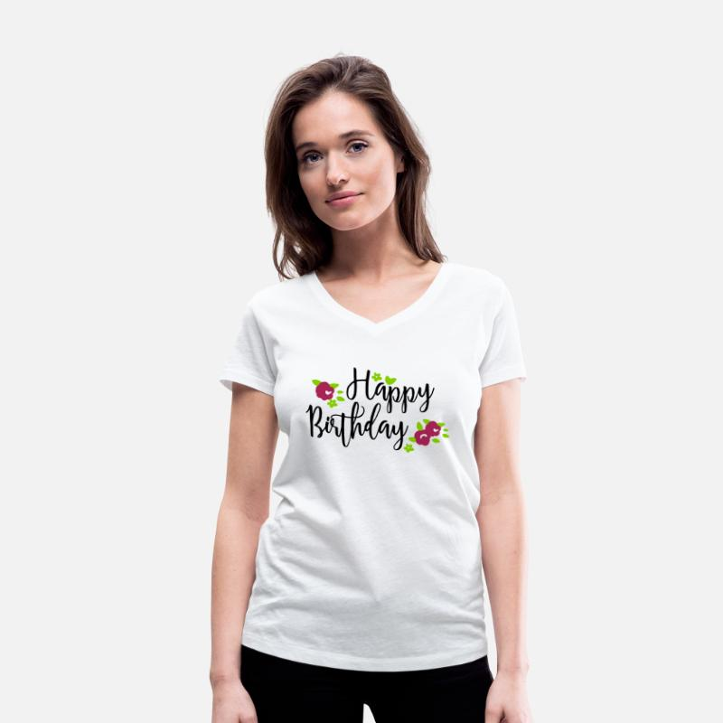Typografi T-shirts - Happy Birthday Flowers - T-shirt för dam med V-ringning vit