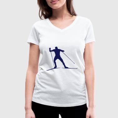 cross country skiing - skiing - ski - Women's Organic V-Neck T-Shirt by Stanley & Stella
