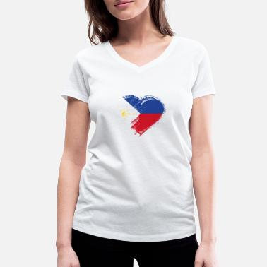 Philippines Grungy I Love Philippines Heart Flag - T-shirt bio col V Stanley & Stella Femme