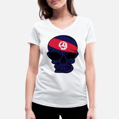 Anarcho Capitalism Anarcho Skull Anarchy anarchy - Women's Organic V-Neck T-Shirt by Stanley & Stella