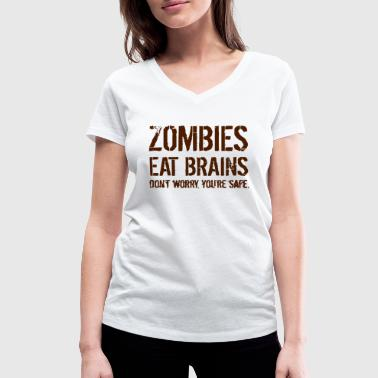 ZOMBIES EAT BRAINS - Women's Organic V-Neck T-Shirt by Stanley & Stella