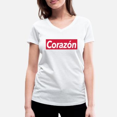 Corazon Corazon - heart - Women's Organic V-Neck T-Shirt by Stanley & Stella