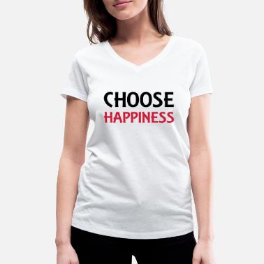 Happiness Choose happiness - Økologisk T-skjorte med V-hals for kvinner