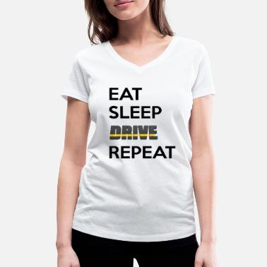 Brum Brum eat sleep drive repeat - Women's Organic V-Neck T-Shirt by Stanley & Stella