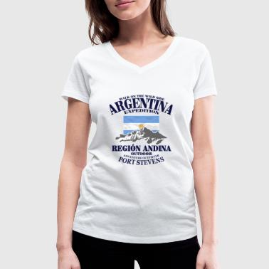 Argentina - Flag & Mountains - Women's Organic V-Neck T-Shirt by Stanley & Stella