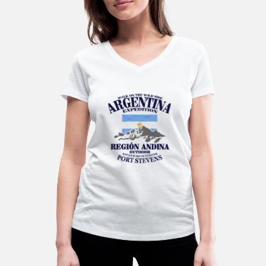 Patagonia Argentina - Flag & Mountains - Women's Organic V-Neck T-Shirt by Stanley & Stella