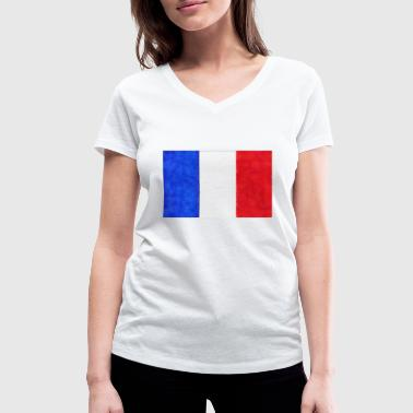 French flag tricolor France - Women's Organic V-Neck T-Shirt by Stanley & Stella