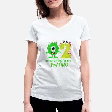 Birthday Funny FUNNY 2ND BIRTHDAY MONSTER DESIGN - Women's Organic V-Neck T-Shirt