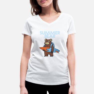 Bears Surf Summer Bear - surfing - sea - vacation - Women's Organic V-Neck T-Shirt by Stanley & Stella
