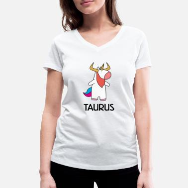 Zodiac Taurus Star Sign Taurus Zodiac Unicorn - Women's Organic V-Neck T-Shirt by Stanley & Stella