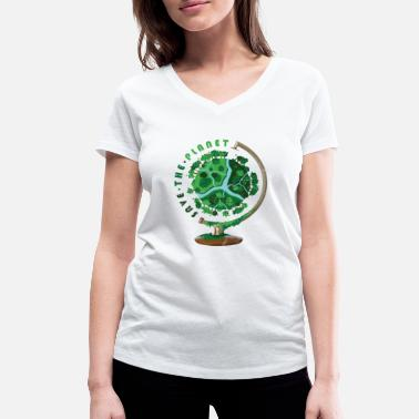 Save The World Planet Globe Gift World Save the Planet - Women's Organic V-Neck T-Shirt by Stanley & Stella