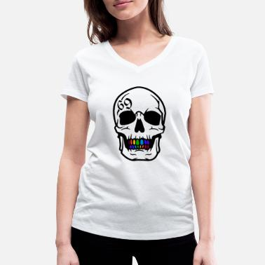 Nine 69 six nine skull - Women's Organic V-Neck T-Shirt by Stanley & Stella