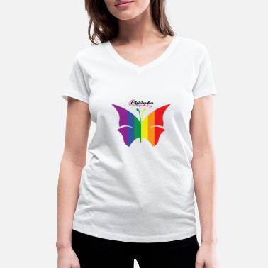 Christopher Street Day LGBT Butterfly Christopher Street Day - Women's Organic V-Neck T-Shirt by Stanley & Stella