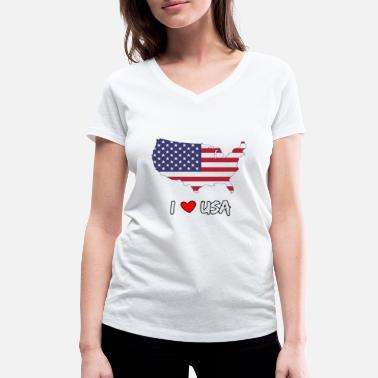 Country Abbreviation I love USA - Women's Organic V-Neck T-Shirt by Stanley & Stella