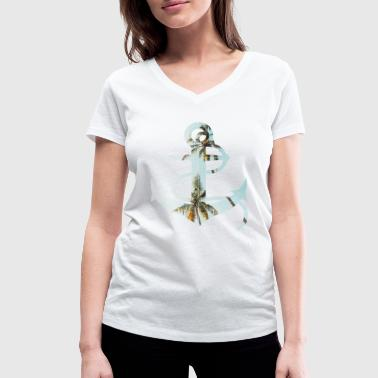 Anchor design with palm trees - Women's Organic V-Neck T-Shirt by Stanley & Stella