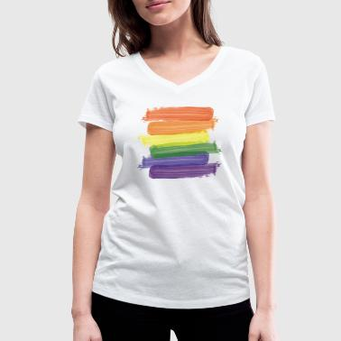 Rainbow Paint Rainbow Paint Brushes (Strokes) - Women's Organic V-Neck T-Shirt by Stanley & Stella