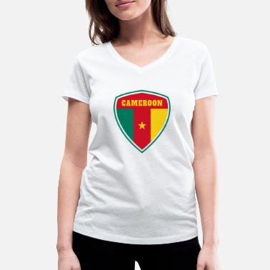 Douala Cameroon Coat of Arms / Gift Flag Cameroon - Women's Organic V-Neck T-Shirt by Stanley & Stella