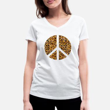 Leopard Design Peace sign in leopard print - Women's Organic V-Neck T-Shirt by Stanley & Stella
