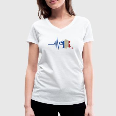 Glitz My heart beats for France - national colors - Women's Organic V-Neck T-Shirt by Stanley & Stella