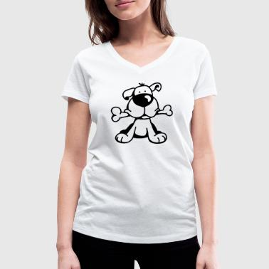 Cute dog with a large bone in the mouth   - Women's Organic V-Neck T-Shirt by Stanley & Stella
