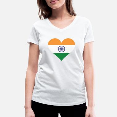 India Flag A heart for India - Women's Organic V-Neck T-Shirt by Stanley & Stella