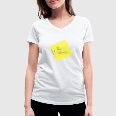 yellow sticky note sticky note best friend - Women's Organic V-Neck T-Shirt by Stanley & Stella