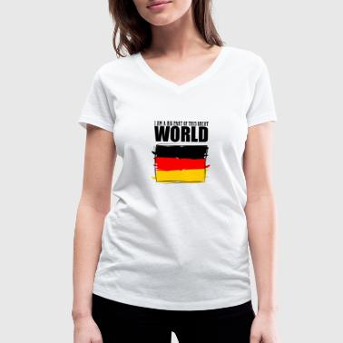 Part Of The World I am a big part of this great world, Germany - Women's Organic V-Neck T-Shirt by Stanley & Stella